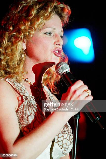 Singer and actress Jeane Manson performs during the Bordeaux wine presentation at Pavillon Gabriel in Paris
