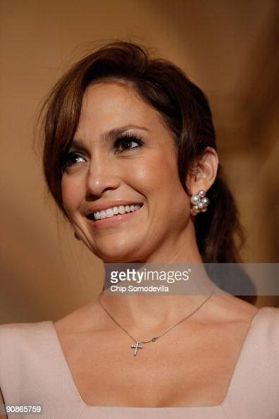 Singer and actress Jennifer Lopez attends a small press availability with her husband Marc Anthony after a meeting with Speaker of the House Nancy...