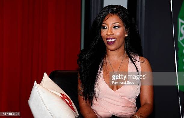 Singer and actress K Michelle is interviewed in the V103 WGCIFM 'Sprite Lounge' in Chicago Illinois on March 22 2016