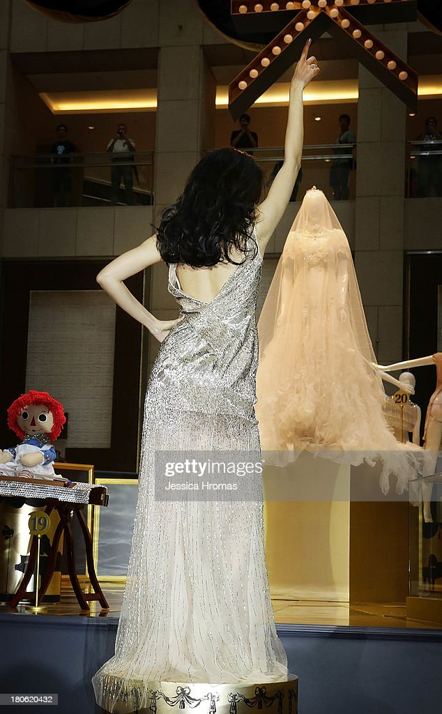 Singer and actress <a gi-track='captionPersonalityLinkClicked' href=/galleries/search?phrase=Karen+Mok&family=editorial&specificpeople=574429 ng-click='$event.stopPropagation()'>Karen Mok</a> at the openiing of the <a gi-track='captionPersonalityLinkClicked' href=/galleries/search?phrase=Karen+Mok&family=editorial&specificpeople=574429 ng-click='$event.stopPropagation()'>Karen Mok</a> 20th Anniversary Exhibition at the Landmark building, Central on September 15, 2013 in Hong Kong, Hong Kong.