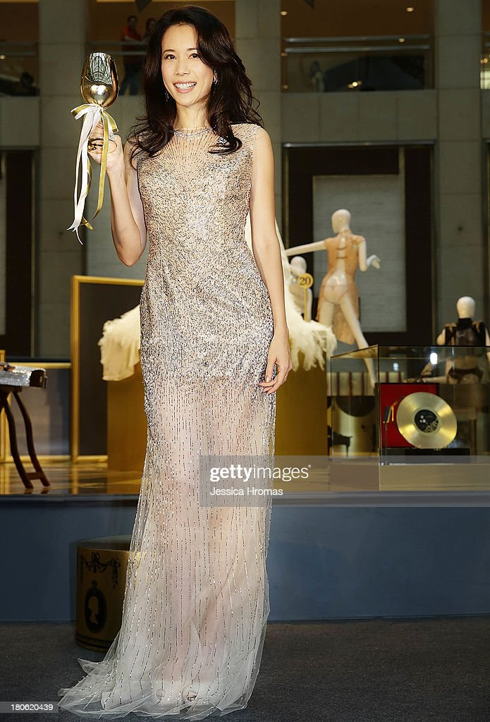 Singer and actress Karen Mok at the opening of the Karen Mok 20th Anniversary Exhibition at the Landmark building, Central on September 15, 2013 in Hong Kong, Hong Kong.