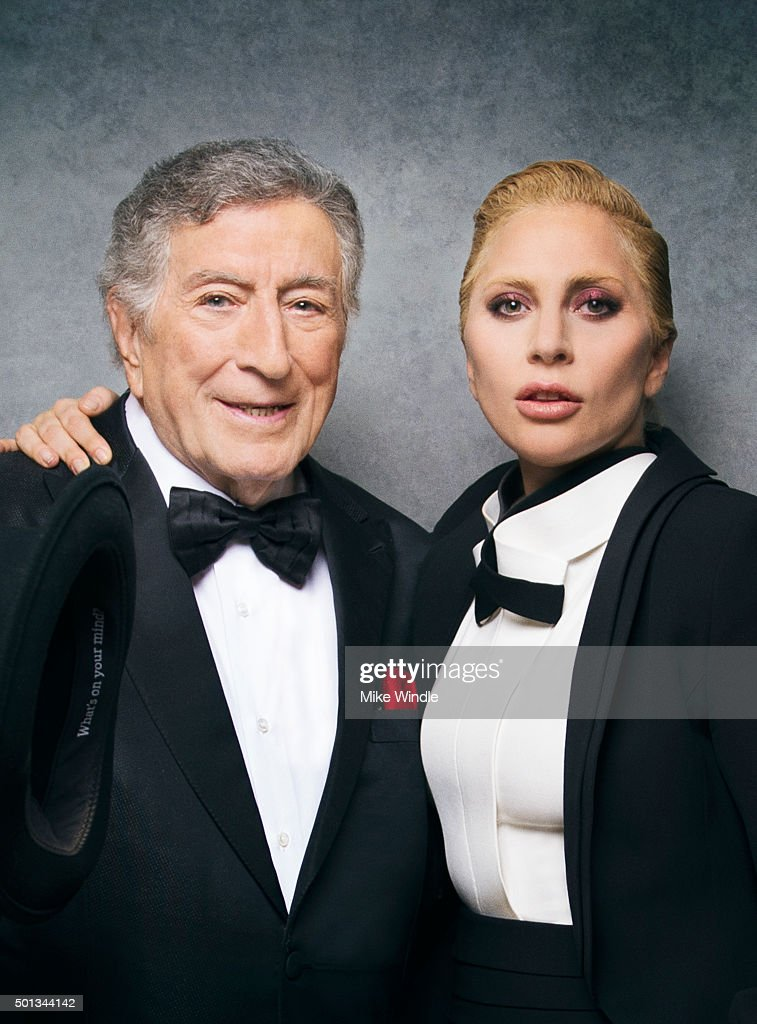 Singer and actress Lady Gaga poses with singer Tony Bennett for a portrait at the Sinatra 100: An All-Star GRAMMY Concert at Wynn Las Vegas on December 2, 2015 in Las Vegas, Nevada.