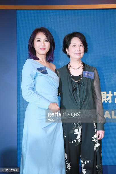 Singer and actress Miriam Yeung and her mother attend Citibank activity on July 10 2017 in Hong Kong China