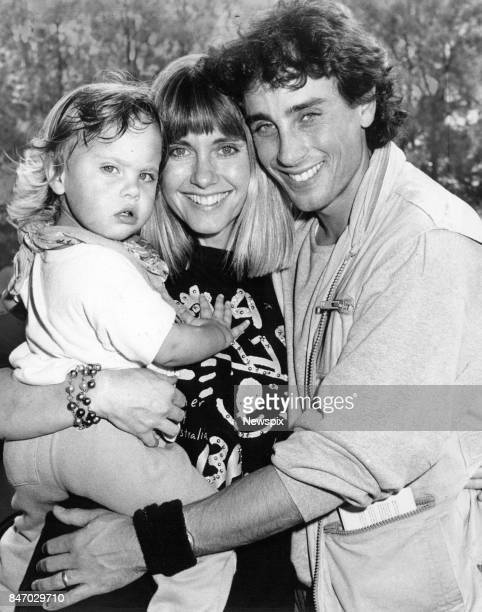 SYDNEY Singer and actress Olivia NewtonJohn with daughter Chloe and husband Matt Lattanzi arrive at Sydney Airport Mascot in Sydney New South Wales...