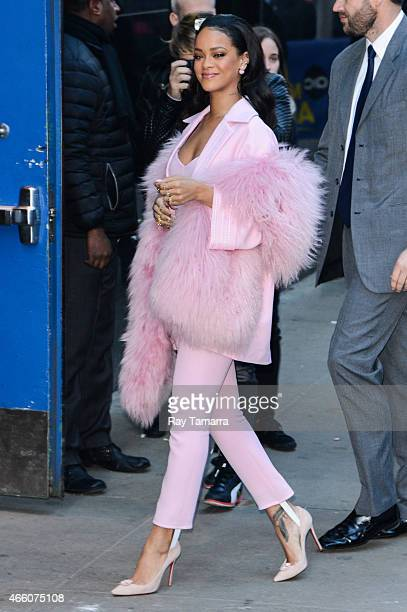 Singer and actress Rihanna enters the 'Good Morning America' taping at the ABC Times Square Studios on March 13 2015 in New York City