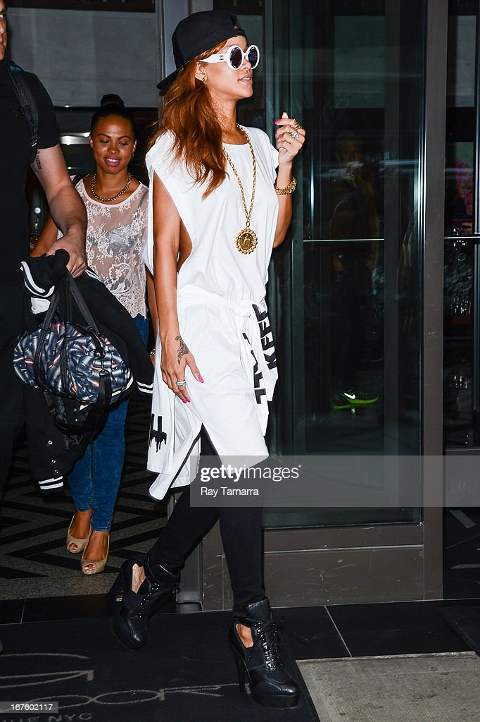 Singer and actress Rihanna leaves her Midtown Manhattan hotel on April 26, 2013 in New York City.