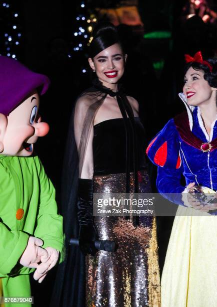 Singer and actress Sofia Carson performs at the 2017 Saks Fifth Avenue Disney 'Once Upon A Holiday' Windows Unveiling at Saks Fifth Avenue on...