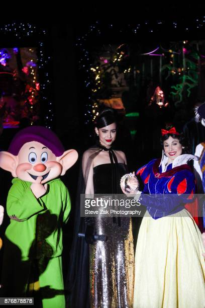 Singer and actress Sofia Carson performs during the 2017 Saks Fifth Avenue Disney 'Once Upon A Holiday' Windows Unveiling at Saks Fifth Avenue on...