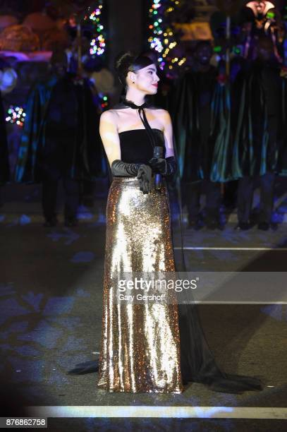 Singer and actress Sofia Carson performs live during the 2017 Saks Fifth Avenue Disney 'Once Upon a Holiday' windows unveiling at Saks Fifth Avenue...