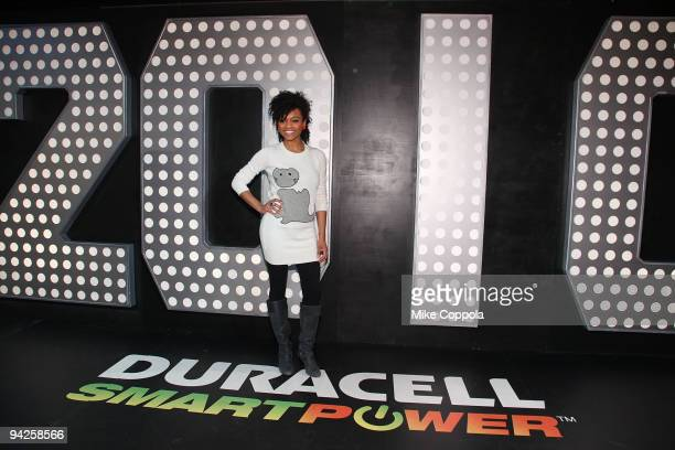 Singer and actress Syesha Mercado visits the Duracell Smart Power Lab in Times Square on December 10 2009 in New York City