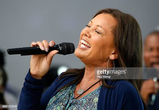Singer and actress Vanessa Williams rehearses for PBS' 2017 National Memorial Day Concert at US Capitol West Lawn on May 27 2017 in Washington DC