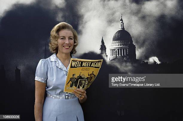 Singer and actress Vera Lynn 'The Forces' Sweetheart' posing with the score for 'We'll Meet Again' 1972
