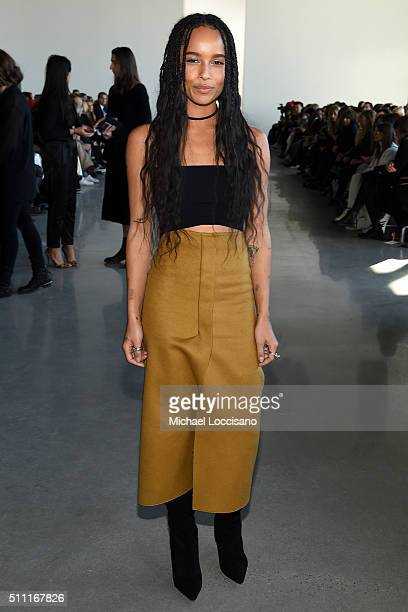 Singer and actress Zoe Kravitz poses at the Calvin Klein Collection Fall 2016 fashion show during New York Fashion Week at Spring Studios on February...