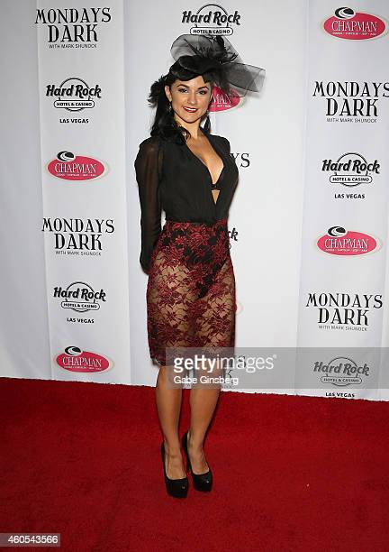Singer and burlesque dancer Melody Sweets arrives at Mondays Dark one year anniversary bash at The Joint inside the Hard Rock Hotel Casino on...
