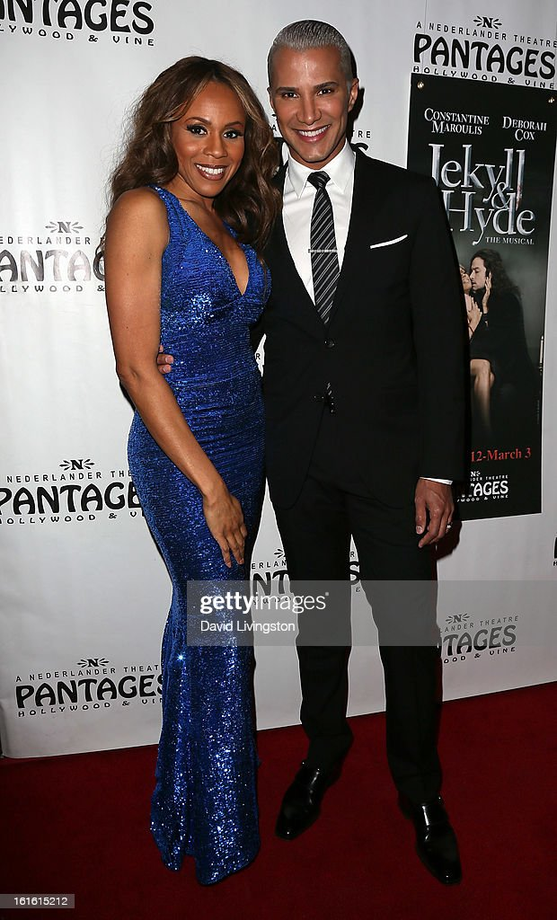 Singer and cast member Deborah Cox (L) and TV personality Jay Manuel pose at the opening night of 'Jekyll & Hyde' at the Pantages Theatre on February 12, 2013 in Hollywood, California.