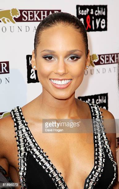 Singer and charity cofounder Alicia Keys arrives at the Black Ball UK in aid of 'Keep A Child Alive' HIV/AIDS charity at St John's Smith Square on...