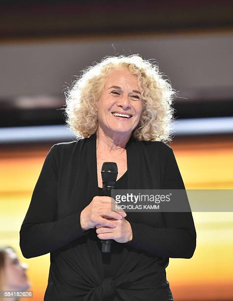 Singer and composer Carole King rehearses before the final day of the 2016 Democratic National Convention at the Wells Fargo Center on July 28 2016...