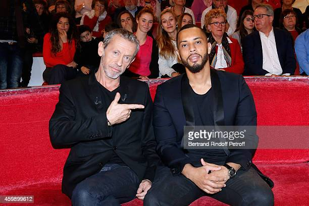 Singer and creator of the album 'La bande a Renaud' Alain Lanty with Rapper and Actor Disiz attend the 'Vivement Dimanche' French TV Show special...