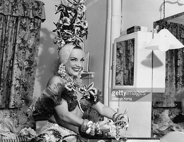 Singer and dancer Carmen Miranda in her dressing room at the London Palladium