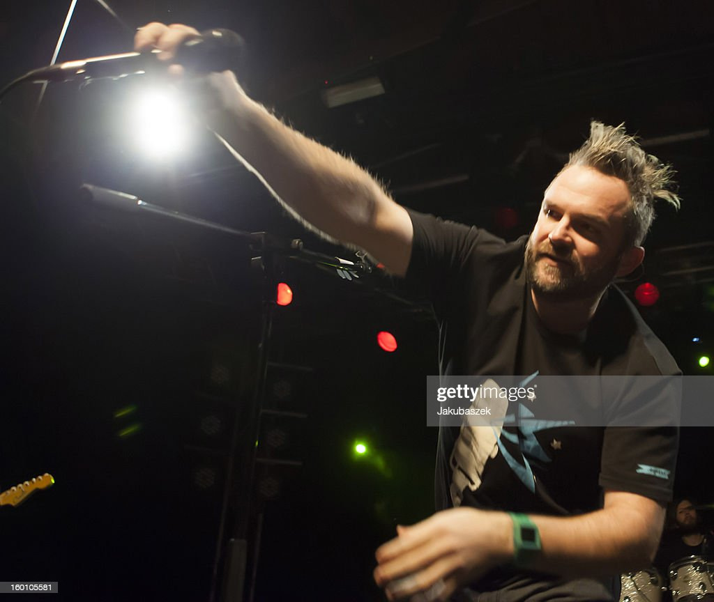 Singer and drummer Pete Francis Heimbold of the US band Dispatch performs live during a concert at the Postbahnhof on January 26, 2013 in Berlin, Germany.