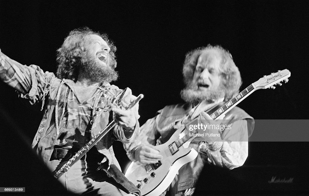 Singer and flautist Ian Anderson (left) and guitarist Martin Barre performing with British rock group Jethro Tull at Wembley Arena, London, 13th May 1982.