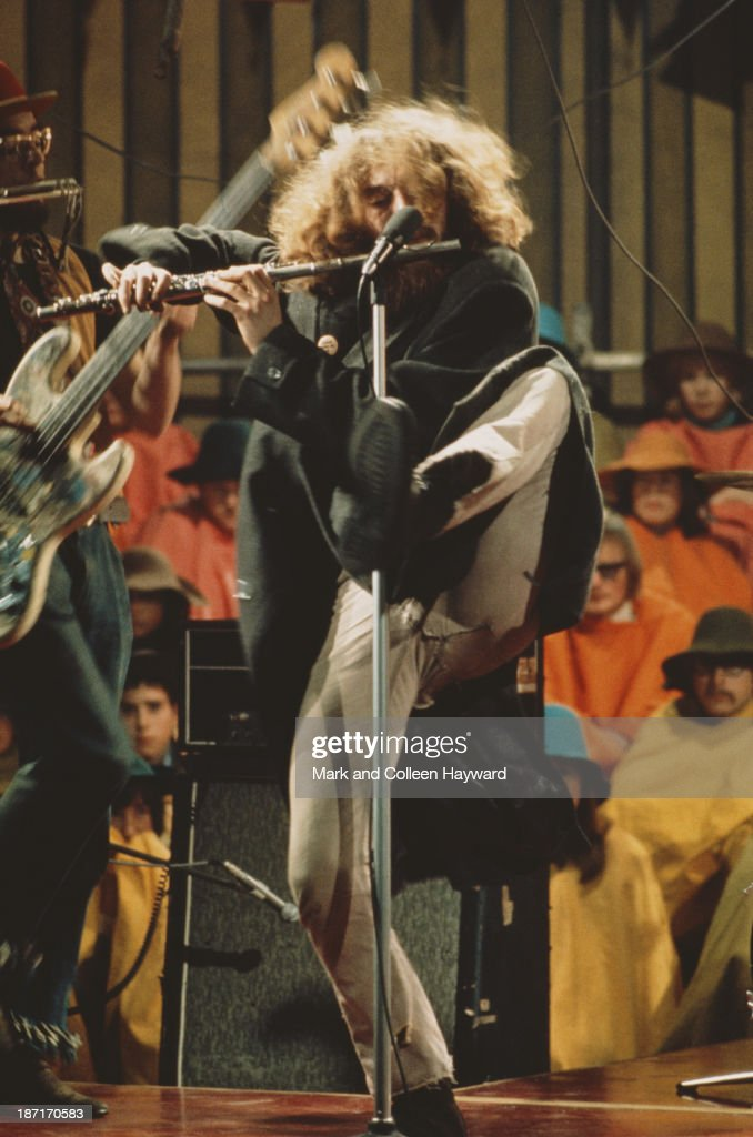 Singer and flautist <a gi-track='captionPersonalityLinkClicked' href=/galleries/search?phrase=Ian+Anderson&family=editorial&specificpeople=615834 ng-click='$event.stopPropagation()'>Ian Anderson</a> from Jethro Tull performs live on stage on the set of the Rolling Stones Rock and Roll Circus at Intertel TV Studio in Wembley, London on 11th December 1968.