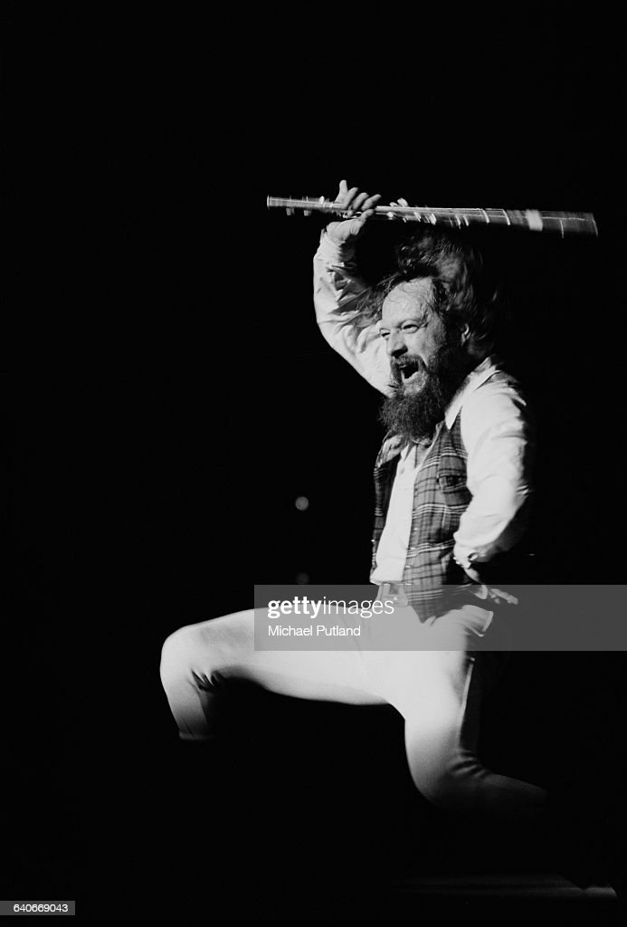 Singer and flautist <a gi-track='captionPersonalityLinkClicked' href=/galleries/search?phrase=Ian+Anderson&family=editorial&specificpeople=615834 ng-click='$event.stopPropagation()'>Ian Anderson</a> performing with British rock group Jethro Tull at Madison Square Garden, New York City, October 1978. The band played three nights at the venue from 8th-11th October.
