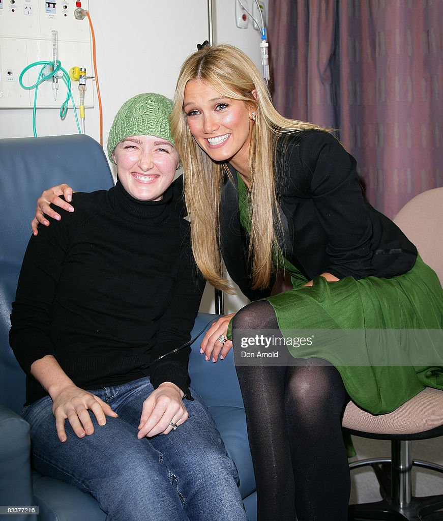Singer and former cancer patient Delta Goodrem meets leukemia patient Hailey, aged 27, as she announces plans for the new AUD100 million Cancer Centre, an initiative from The Garvan Institute of Medical Research, St Vincents & Mater Health Sydney, at the St Vincent`s Research Precinct of St Vincent`s Hospital on October 22, 2008 in Sydney, Australia. The singer, who will be the Patron of the new Centre, was a patient of St Vincent`s Campus 5 years ago when she was treated for Hodgkin`s Lymphoma.
