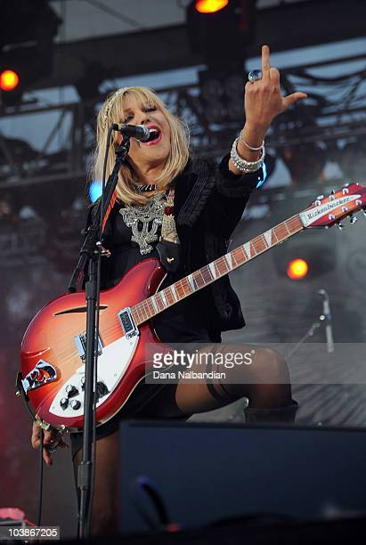 Singer and guitar player Courtney Love of Hole peforms on the Mainstage at Bumbershoot on September 5 2010 in Seattle Washington