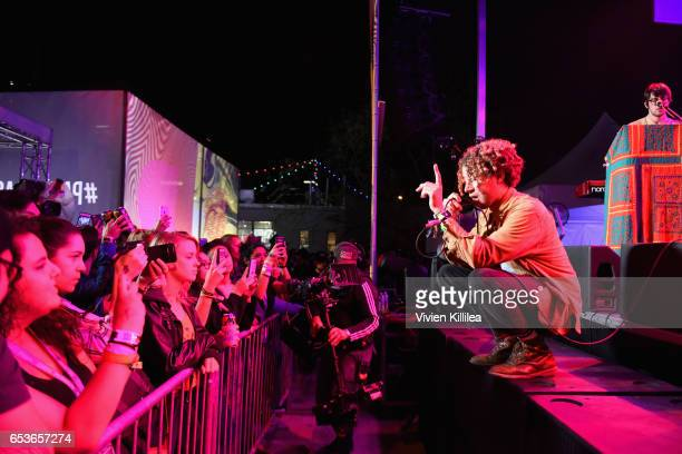 Singer and guitarist Danny Miller and drummer/producer Max Harwood of Lewis Del Mar perform onstage during Pandora at SXSW 2017 on March 15 2017 in...