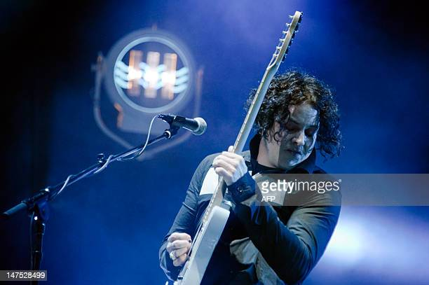 US singer and guitarist Jack White performs on stage on the third day of the Eurockeennes' festival on July 1 in the French eastern city of Belfort...