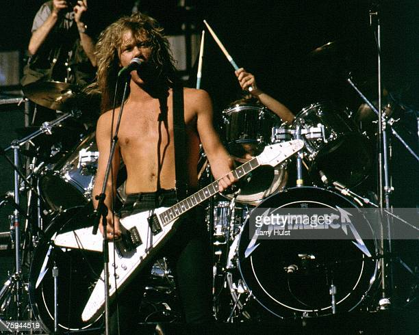 Singer and guitarist James Hetfield of the heavy metal quartet Metallica performs onstage in circa 1985