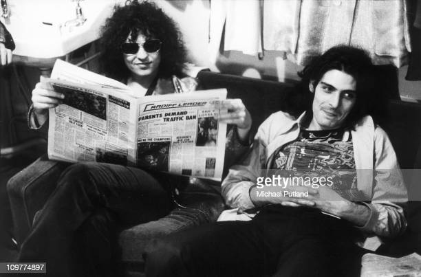 Singer and guitarist Marc Bolan and percussionist Mickey Finn of TRex in Cardiff Wales in 1973