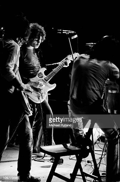 Singer and guitarist Marc Bolan of TRex performing on stage at the Weeley Festival held near ClactononSea in Essex England on August 29
