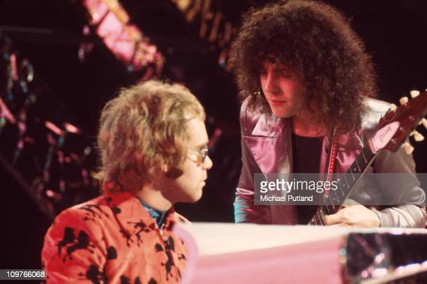 Singer and guitarist Marc Bolan of TRex performing with Elton John on the BBC television show Top of the Pops on December 20 1971