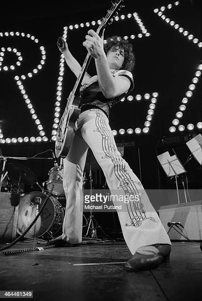 Singer and guitarist Marc Bolan performing with British glam rock group TRex at The Apollo Glasgow 22nd January 1974
