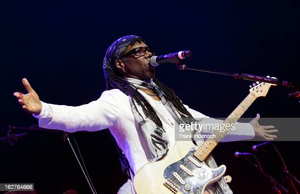 Singer and guitarist Nile Rodgers performs live during 'Die ultimative Chartshow Live On Stage' at the MaxSchmelingHalle on February 25 2013 in...