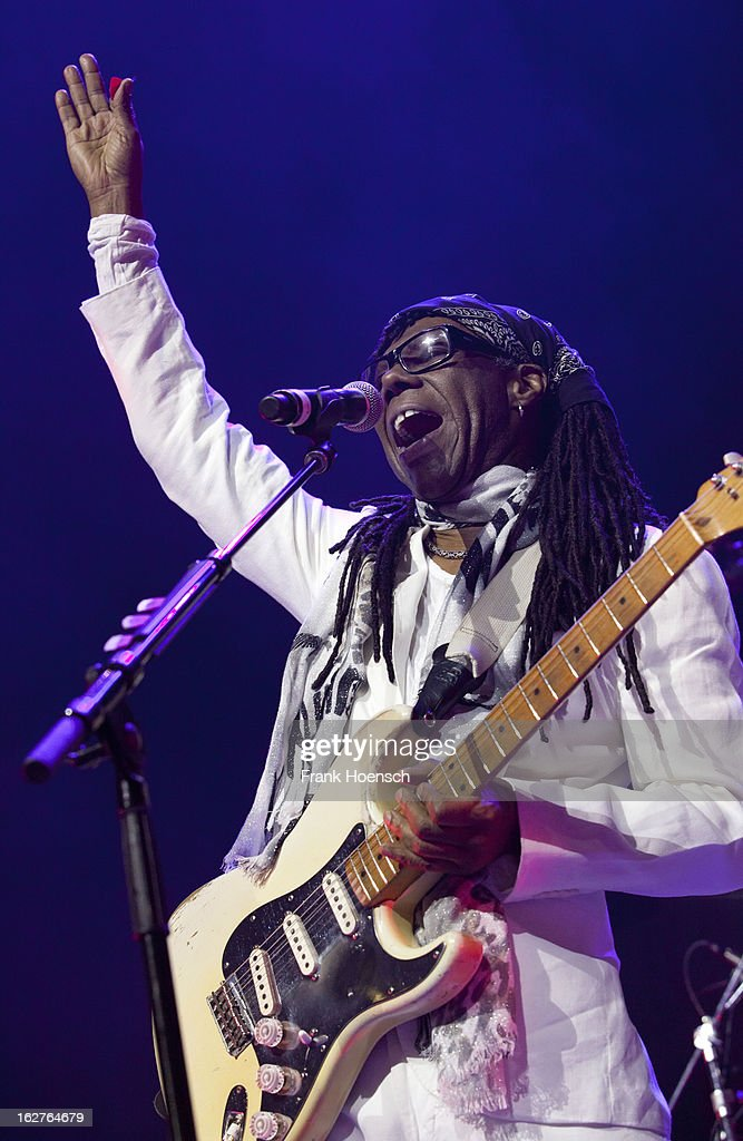 Singer and guitarist <a gi-track='captionPersonalityLinkClicked' href=/galleries/search?phrase=Nile+Rodgers&family=editorial&specificpeople=217582 ng-click='$event.stopPropagation()'>Nile Rodgers</a> performs live during 'Die ultimative Chartshow Live On Stage' at the Max-Schmeling-Halle on February 25, 2013 in Berlin, Germany.