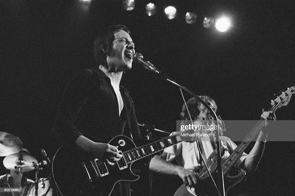 Singer and guitarist Steve Marriott performing with the Steve Marriott Allstars at The Great British Music Festival Olympia London 31st December 1975...