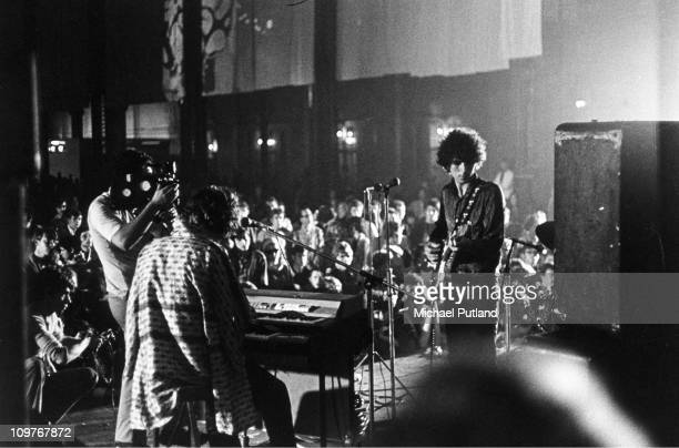Singer and guitarist Syd Barrett of Pink Floyd performing on stage at the International LoveIn Festival held at Alexandra Palace London 29th July 1967