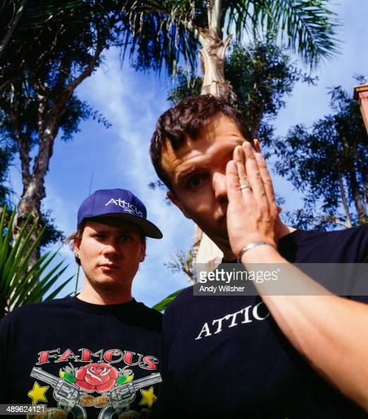 Singer and guitarist Tom DeLonge and singer and bassist Mark Hoppus of American rock group Blink 182 circa 2000