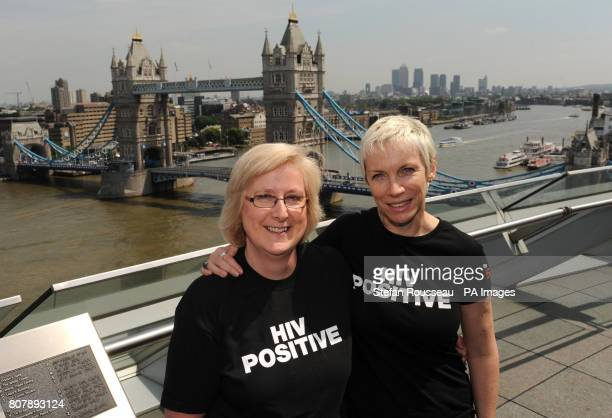 Singer and HIV campaigner Annie Lennox meets Pamela Chesters the Advisor to the Mayor on Health and Youth Opportunities at City Hall today as part of...