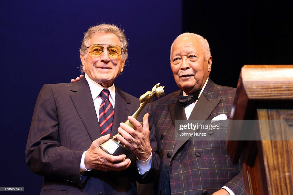 Singer and honored guest <a gi-track='captionPersonalityLinkClicked' href=/galleries/search?phrase=Tony+Bennett+-+Singer&family=editorial&specificpeople=160951 ng-click='$event.stopPropagation()'>Tony Bennett</a> and former New York City Mayor <a gi-track='captionPersonalityLinkClicked' href=/galleries/search?phrase=David+Dinkins&family=editorial&specificpeople=171317 ng-click='$event.stopPropagation()'>David Dinkins</a> attend the New York County Democratic Committee Award Ceremony at American Airlines Theater on July 15, 2013 in New York City.