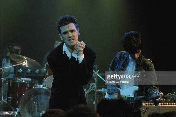Singer and lyricist Morrissey and guitarist Johnny Marr performing with English pop group The Smiths for the Oxford Road Show TV programme Manchester...