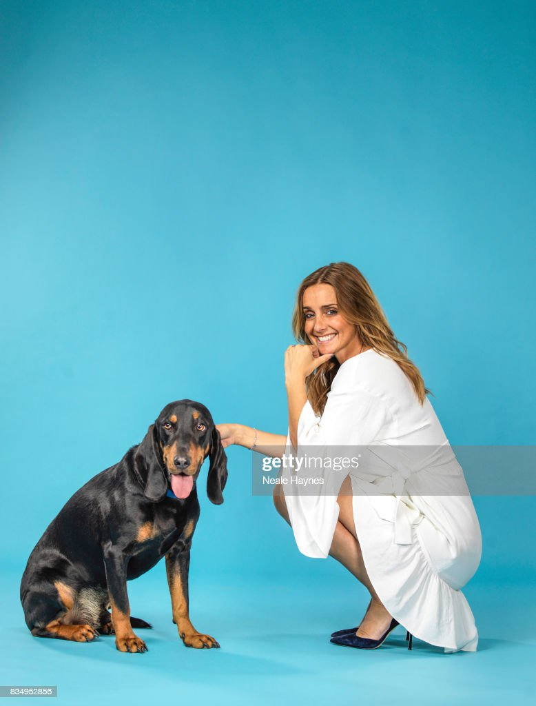 Singer and media personality Louise Redknapp is photographed with her pet dog Corky a stray rescued in Cyprus for the Daily Mail on April 21, 2017 in Guildford, England.