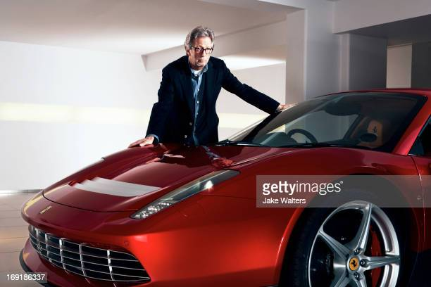 Singer and musician Eric Clapton is photographed with his custom built Ferrari SP12EC for Ferrari magazine on March 21 2012 in London England