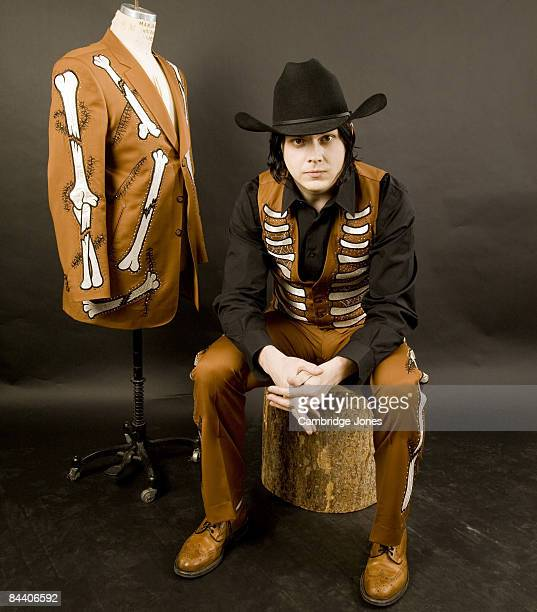 Singer and musician Jack White poses at a portrait session for photographer Cambridge Jones's book on ManuelThe Rhinestone Rembrant