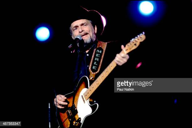 Singer and musician Merle Haggard performs at the Rosemont Horizon Rosemont Illinois October 27 1996