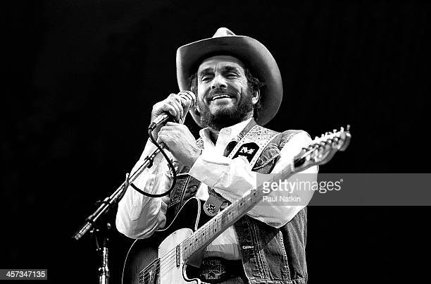 Singer and musician Merle Haggard performs Fresno California April 19 1986
