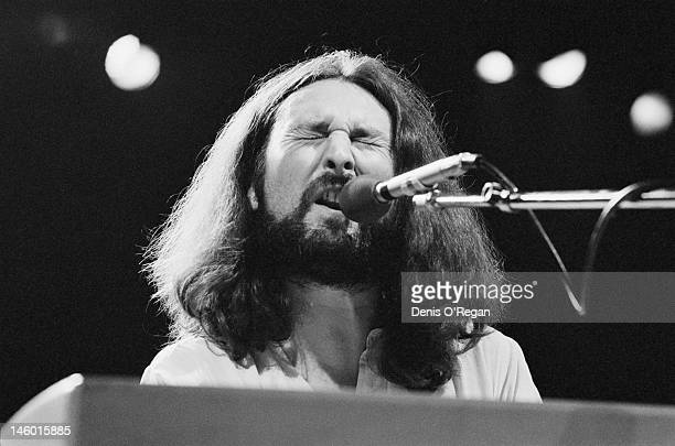 Singer and musician Rick Davies in concert with his rock band Supertramp at Wembley circa 1979